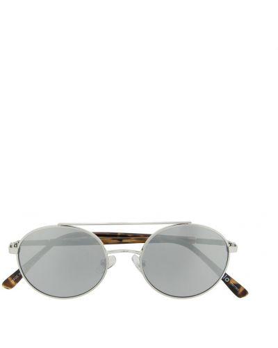 Серебряные солнцезащитные очки круглые металлические Molo