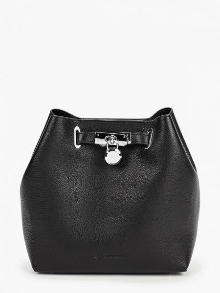 Кожаная сумка с ручками черная Marco Bonne