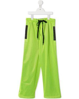 Спортивные зеленые брюки с поясом со вставками Natasha Zinko Kids