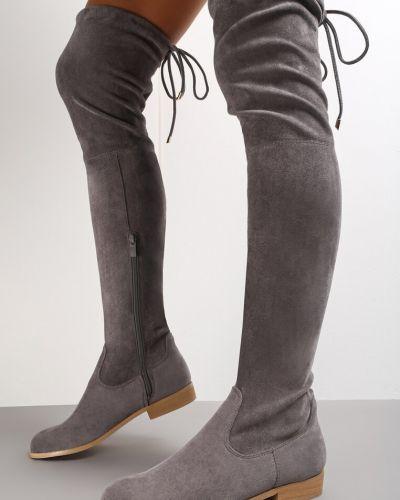 Kozaki za kolano z wiązaniami - szare Renee
