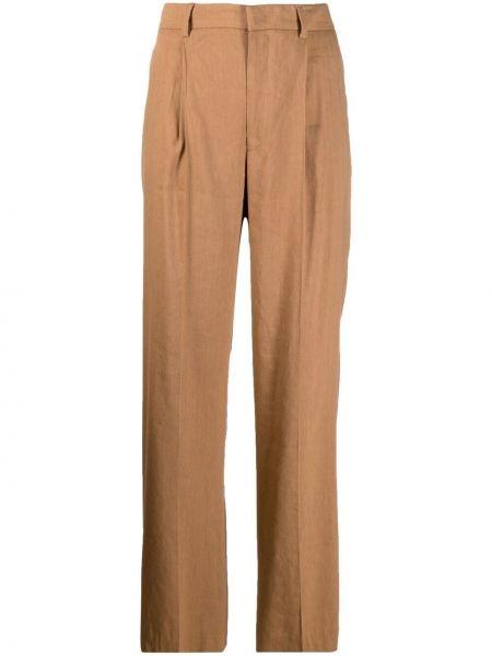 С завышенной талией прямые коричневые брюки Pt01