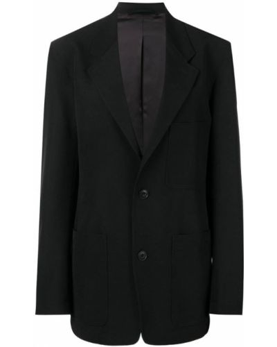 Черный удлиненный пиджак на пуговицах свободного кроя Lemaire