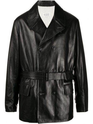 Черная кожаная куртка с поясом Maison Margiela