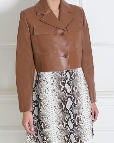 Кожаный коричневый классический пиджак на пуговицах Jonathan Saunders