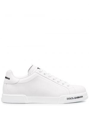 Кожаные кеды - белые Dolce & Gabbana