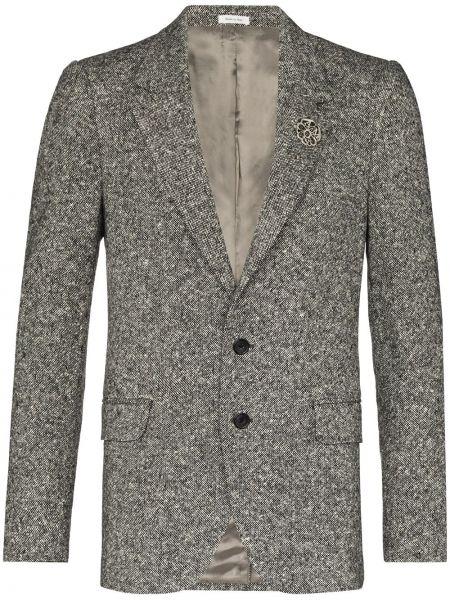 Шерстяной черный пиджак на пуговицах с лацканами Alexander Mcqueen
