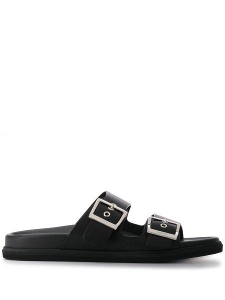 Шлепанцы черные кожаные Car Shoe