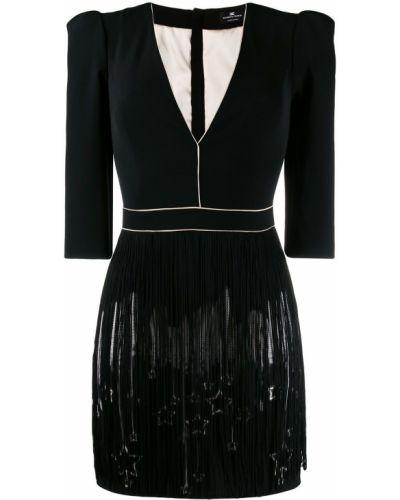 Платье с бахромой с V-образным вырезом Elisabetta Franchi