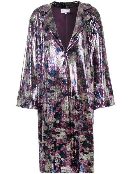 Długi płaszcz z wzorem z klapą Collina Strada