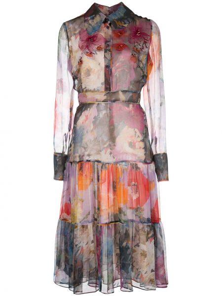 Фиолетовое с рукавами платье миди с воротником Marchesa