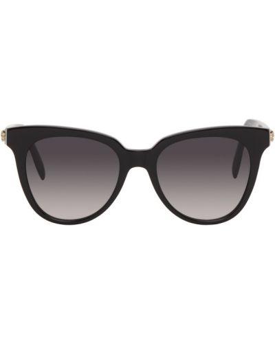 Кожаные черные солнцезащитные очки квадратные Alexander Mcqueen