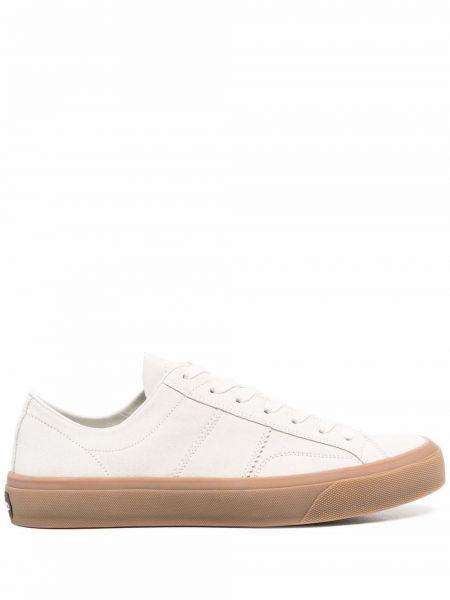 Białe sneakersy skorzane na obcasie Tom Ford