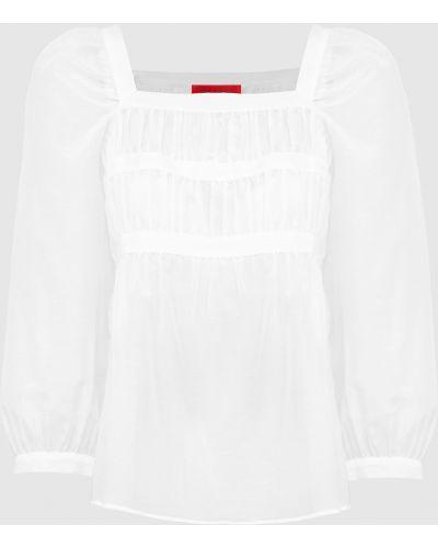 Блузка с драпировкой - белая Max & Co