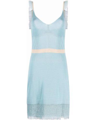 Трикотажное синее платье с вырезом Moschino