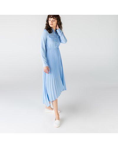 Серое платье из полиэстера Lacoste