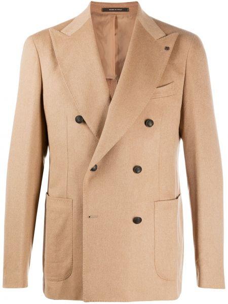 Шерстяной удлиненный пиджак двубортный с карманами Tagliatore
