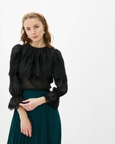 Черная блузка с оборками Арт-Деко