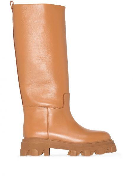 Кожаные ботильоны - коричневые Gia Couture