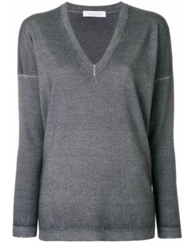 Серый свитер с V-образным вырезом Cruciani
