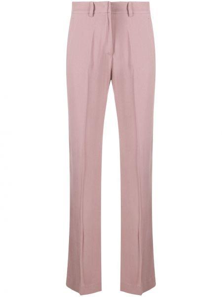 Брючные розовые брюки с воротником с поясом Hebe Studio