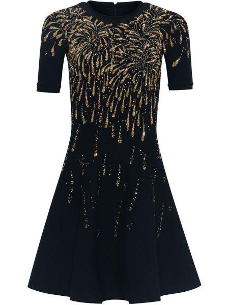 Платье мини с пайетками на молнии с вырезом круглое Oscar De La Renta