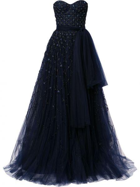 Rozbłysnął nylon niebieski sukienka bez ramiączek Carolina Herrera