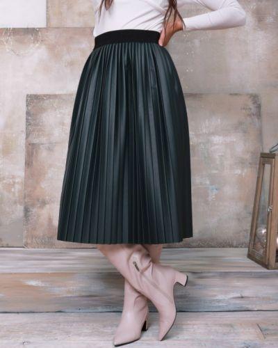 Плиссированная кожаная юбка миди на резинке Issa Plus