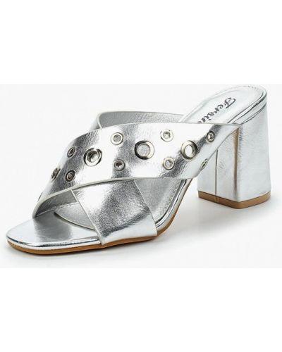 Серебряные кожаные сабо Fersini