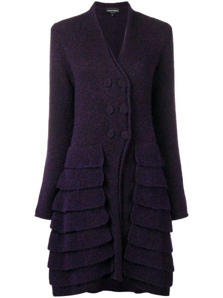 Фиолетовое пальто двубортное винтажное Giorgio Armani Pre-owned