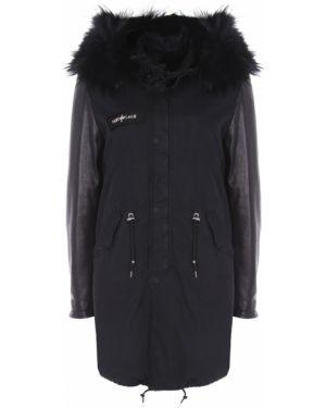 Кожаная куртка с капюшоном черная Camouflage Couture