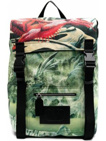 Zielony plecak klamry w kwiaty Valentino