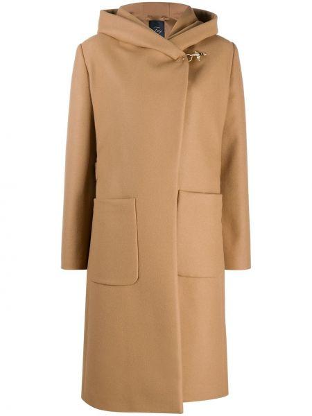 С рукавами классическое шерстяное пальто с капюшоном с поясом Fay
