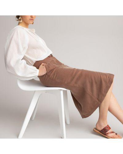 Коричневая прямая юбка миди из вискозы Laredoute