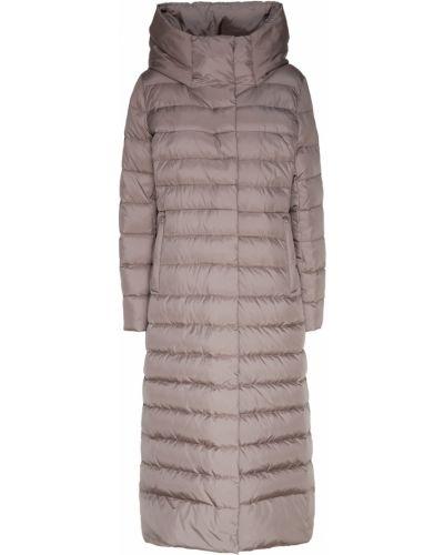 Пальто с капюшоном стеганое серое Milamarsel