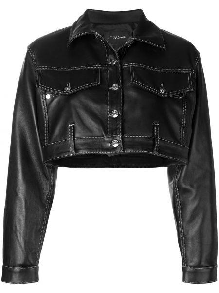 Черный кожаный классический пиджак оверсайз Manokhi