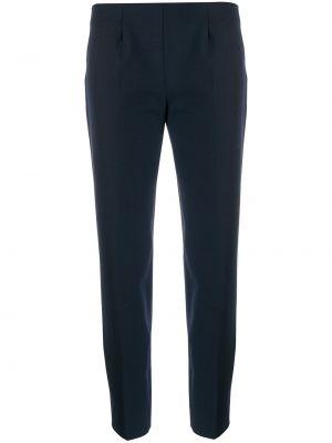 Шерстяные синие укороченные брюки на молнии Piazza Sempione