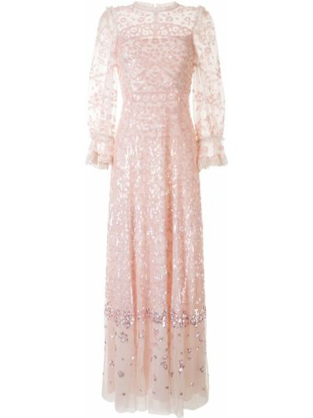 С рукавами розовое платье макси с пайетками Needle & Thread