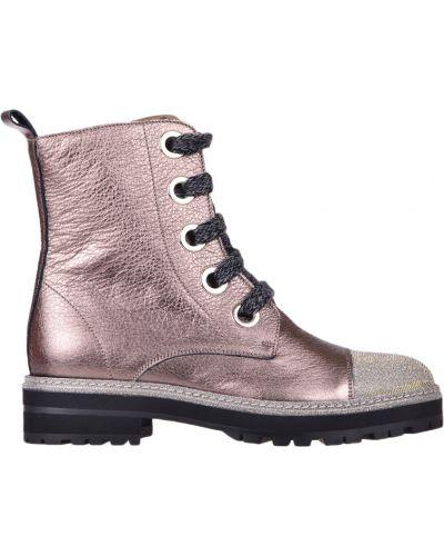 Кожаные ботинки - золотые Pertini
