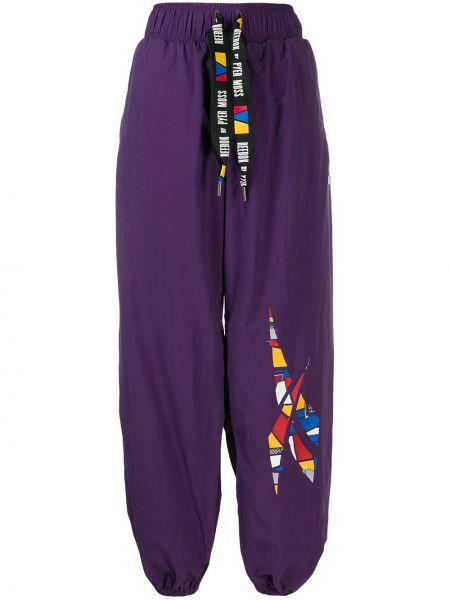 Fioletowe spodnie z wysokim stanem z paskiem Reebok By Pyer Moss