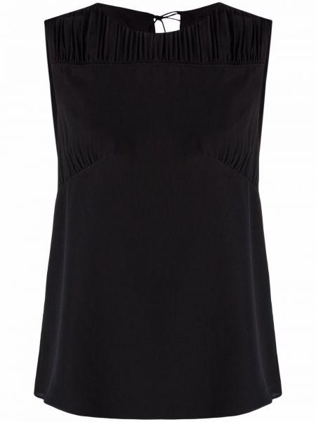 Шелковая черная блузка без рукавов Paul Smith
