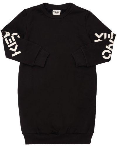 Хлопковое платье - черное Kenzo Kids