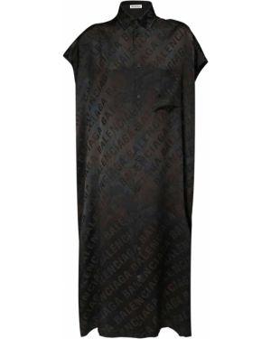 Шелковое восточное платье с воротником с карманами Balenciaga