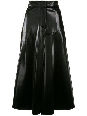 Черная расклешенная юбка миди с потайной застежкой Goen.j