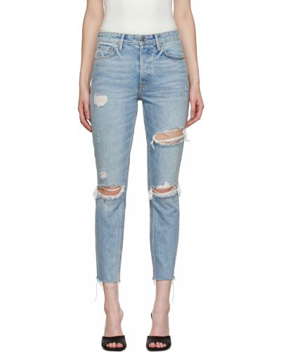 Niebieskie jeansy rurki srebrne Grlfrnd