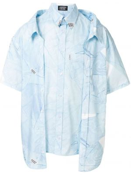 Niebieska koszula krótki rękaw bawełniana Andrea Crews