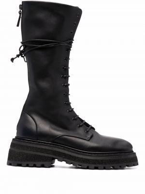 Черные кожаные сапоги на шпильке на каблуке Marsèll