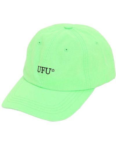 Zielony kapelusz bawełniany z haftem Ufu - Used Future