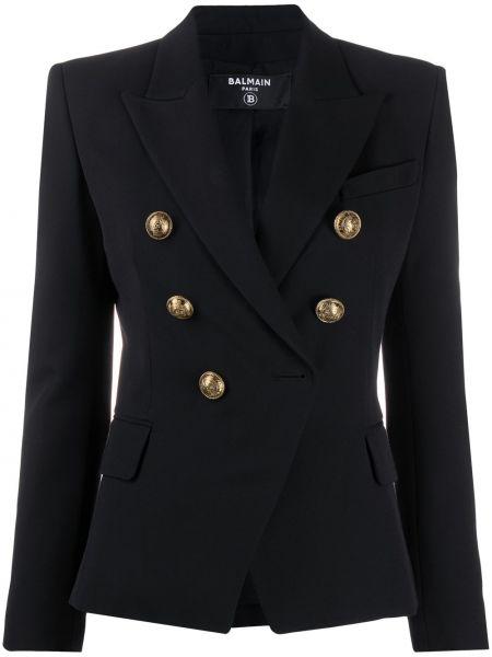 Шерстяной черный пиджак двубортный Balmain