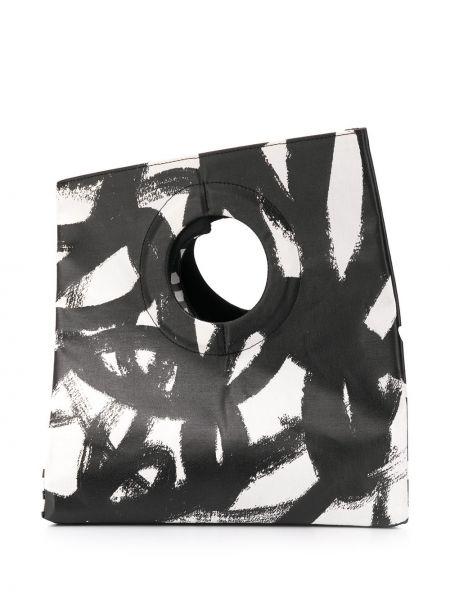 Czarna torebka bawełniana z printem Pleats Please Issey Miyake