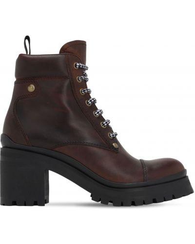 Czarne ankle boots na platformie skorzane Miu Miu